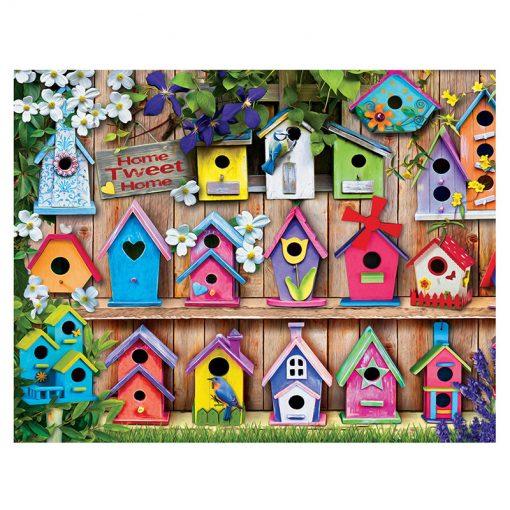 colourful bird houses